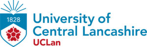 """a shield with a rose on it; on hte right: letters """"University of Central Lancashire"""""""